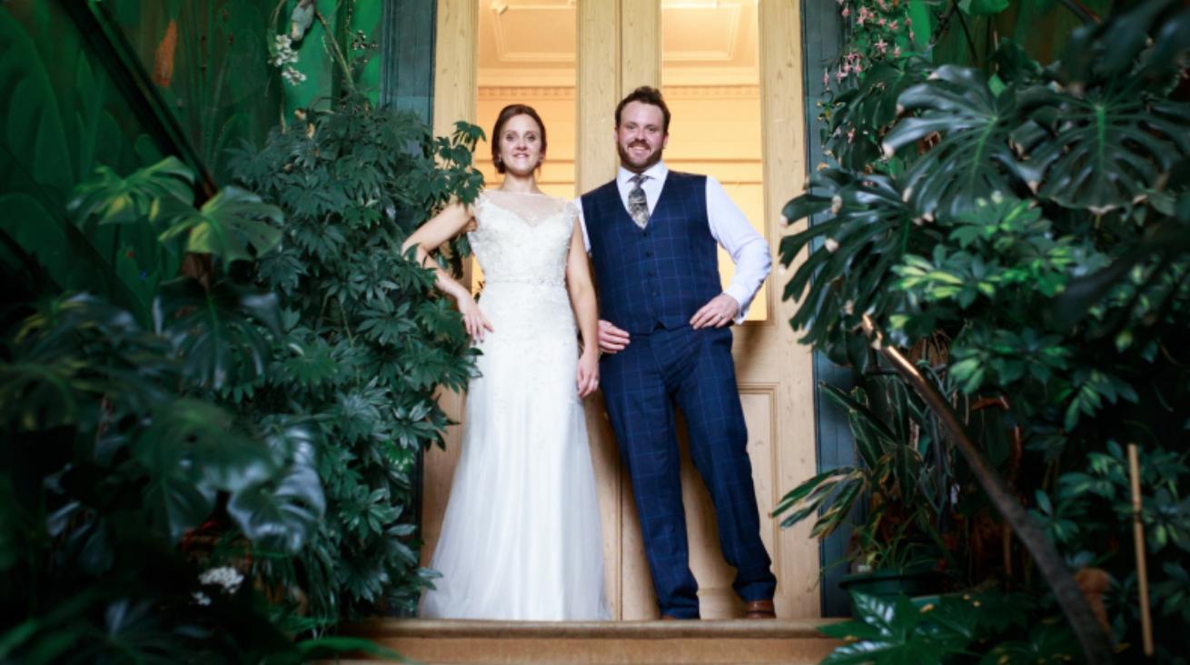 Escot wedding jungle staircase