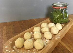Wild garlic pesto and gnocchi